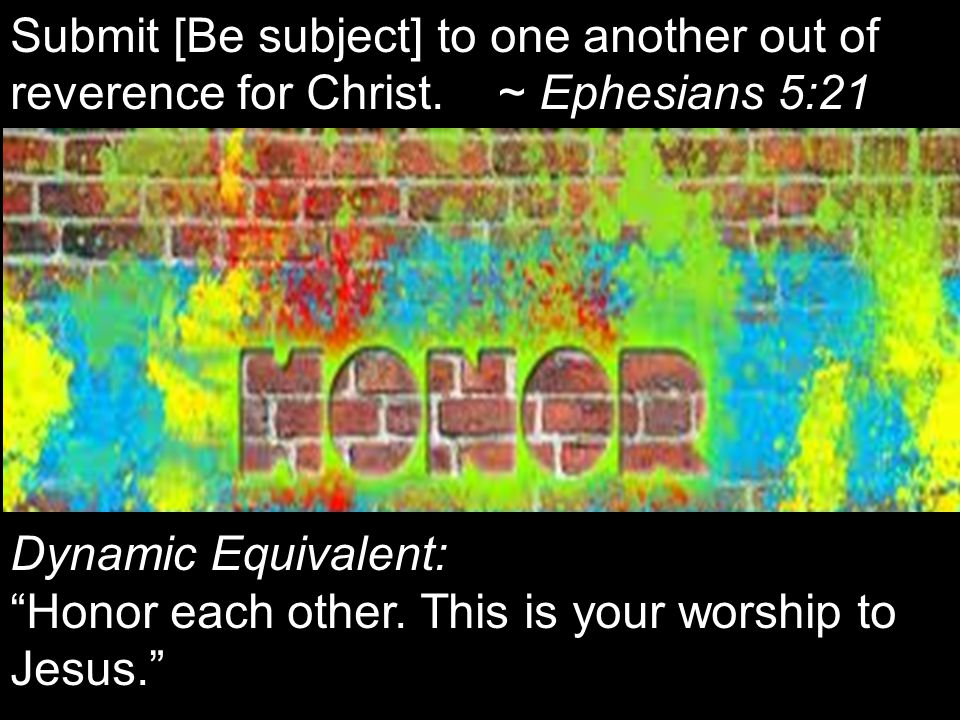 Submit [Be subject] to one another out of reverence for Christ